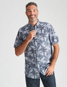 Rivers Short Sleeve Linen Cotton Print Shirt