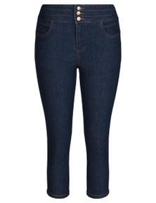 Rivers Button Front Crop Jean