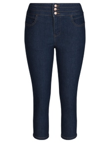 Rivers Button Front Crop Jean