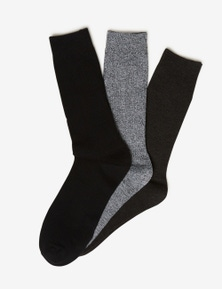 Rivers 3 Pack Ribbed Crew Sock