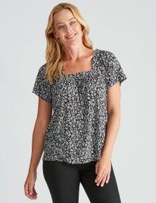 Rivers Square Neck Flutter Sleeve Shirt