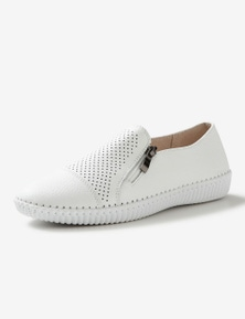 Rivers Leathersoft Perforated Zip Slip On