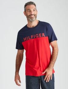 Tommy Hilfiger Mens Short Sleeve Spliced Logo Tshirt