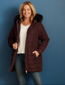 Rivers Longline Fur Trim Jacket