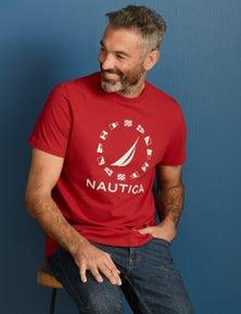 Nautica Mens Short Sleeve Flags Tshirt