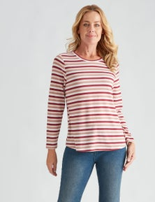 Rivers Long Sleeve Soft Touch Stripe Top
