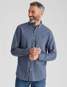 Rivers Long Sleeve Linen Cotton Check Shirt