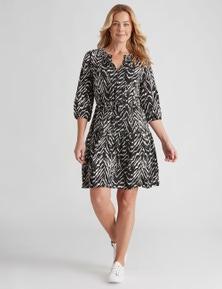 Rivers 3/4 Sleeve Notch Neck Midi Dress