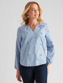 Rivers Long Sleeve Notch Neck Chambray Top