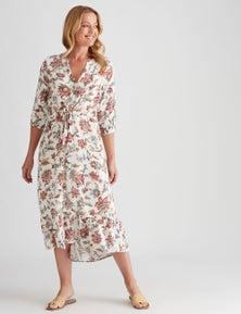 Rivers 3/4 Sleeve Tie Waist Maxi Dress