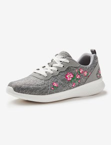 Rivers Barefoot Memory Foam Embroidered Floral Lace Up