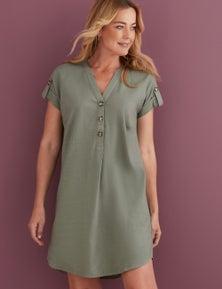 Rivers Button Detail Linen Dress