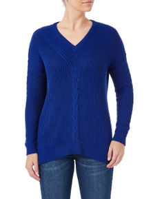 Rockmans Long Sleeve V Neck Cable Front Knit
