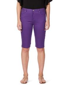 Rockmans Knee Length Zip Detail Solid Denim Short