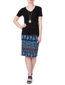 Rockmans Mixed Paisley Pencil Skirt