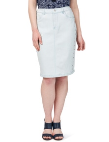 Rockmans Knee Length Light Wash Stud Detail Skirt