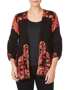 Rockmans Elbow Sleeve Paisley Print Lace Kimono