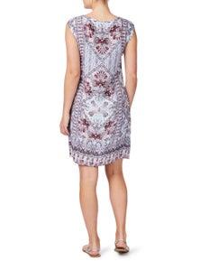 Rockmans Extended Sleeve Purple Paisley Dress