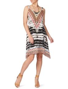 Rockmans Strappy Hanky Hem Animal Print Dress