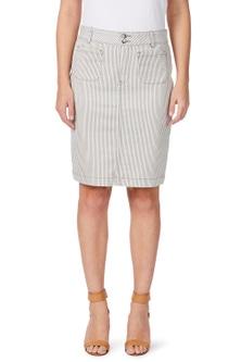 Rockmans Stripe Double Button Skirt