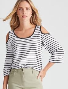 Rockmans 3/4 Sleeve Cold Shoulder Stripe Tunic
