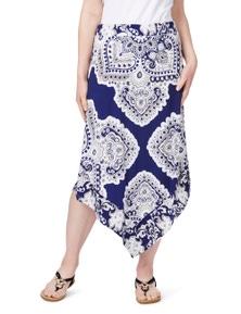 Rockmans Scarf Print Hanky Hem Maxi Skirt