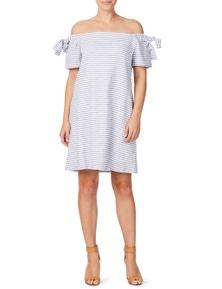 Rockmans Short Sleeve Off Shoulder Stripe Dress
