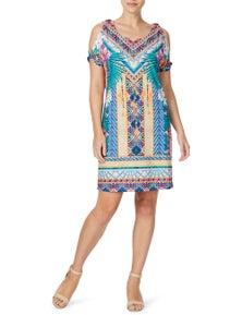 Rockmans Short Sleeve D Ring Palm Print Dress