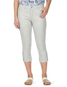Rockmans Crop Silver Trim Lace Up Slim Leg Jean