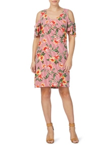 Rockmans Shortsleeve Stripe Floral Dress