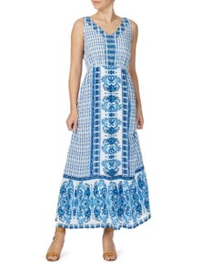 Rockmans Sleeveless Blues Maxi Dress