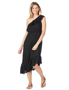 Rockmans Sleeveless Assymetric Lace Trim Dress