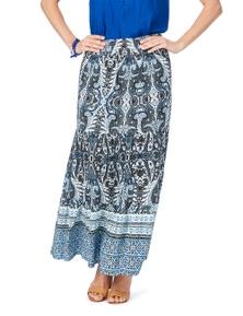Rockmans Tiered Blue Paisley Print Maxi Skirt