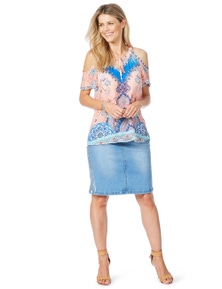 Rockmans Silver Foil Denim Skirt