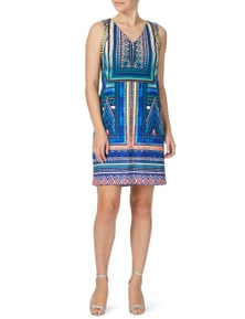 Rockmans Sleeveless Zig Zag Print Zip Dress