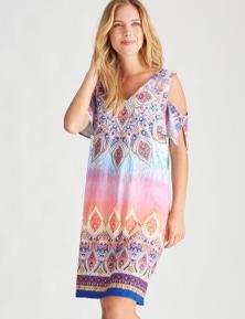 Rockmans Shortsleeve Ombre Print Dress