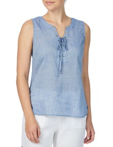 Rockmans Sleeveless Eyelet Tie Front Blouse