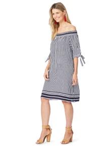Rockmans Elbow Sleeve Off Shoulder Stripe Dress