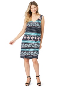 Rockmans Sleeveless Boho Print Dress