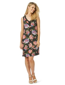 Rockmans Sleeveless Spot Floral Stud Dress