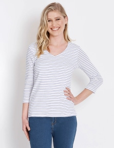 Rockmans 3/4 Sleeve V Neck Double Front Stripe Tee