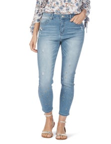 Rockmans 7/8 Star Embroidered Skinny Leg Jean