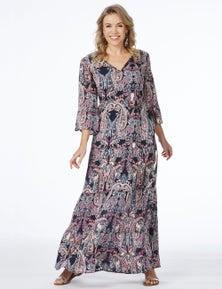 Rockmans 3/4 Sleeve Paisley Tiered Maxi Dress
