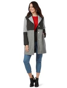 Rockmans Longsleeve Colourblock Marled Melton Coat