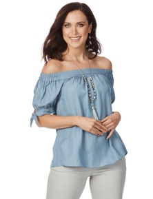 Rockmans Elbow Sleeve Chambray Off Shoulder Top