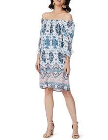 Rockmans 3/4 Sleeve Shirred Tile Peasant Dress