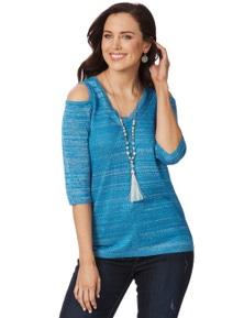 Rockmans 3/4 Sleeve Lurex Cold Shoulder Knit