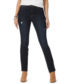 Rockmans Full Length Straight Leg Distressed Jean