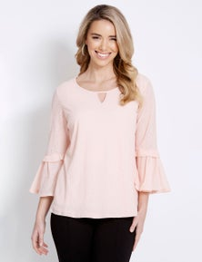 Table Eight 3/4 Sleeve Pleat Detail Knit Top
