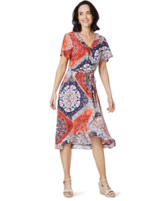 Rockmans Shortsleeve Patchwork Wrap Dress